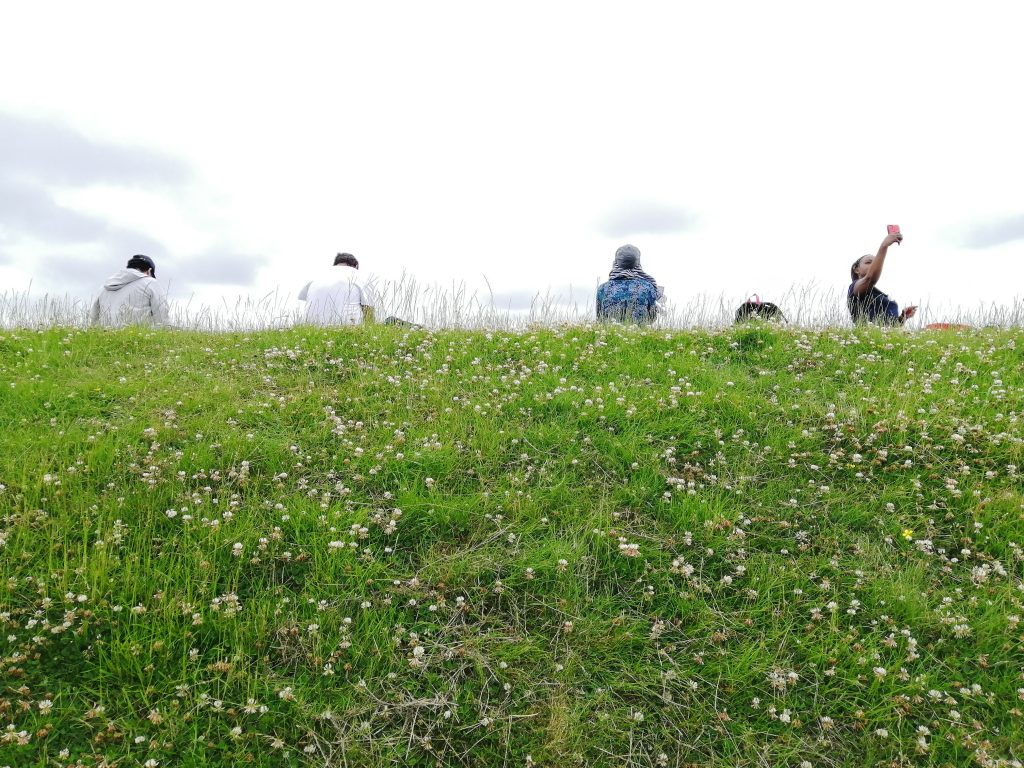 people sitting on a grassy hill